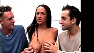 Donny Long shares huge real boob whore and DP her with frien