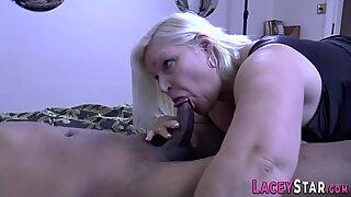 Horny granny rides big black cock