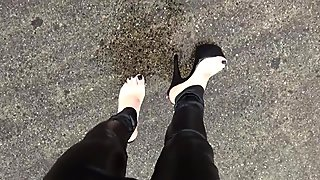 wet feet and wet stripper high heels