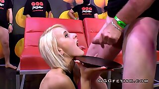 German blonde gets cums with bukkakes
