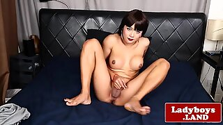 Ladyboy beauty solo spreading her tight ass