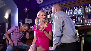 Boozed blonde girl cheats with old man