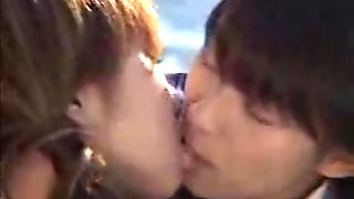 Hot asian schoogirls kissing and spit swapping