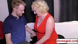 Grandmother teaches young male how to fuck!