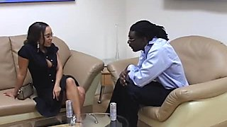 Talkative hot ebony slut Mone Devine sucks a cock in the office