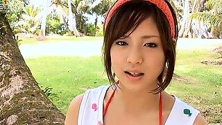 Short haired sexy chick Miyu Oriyama walks in the woods
