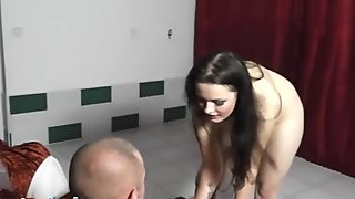 Girl with enormous tits gives lapdance and BJ