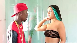 Curvy brunette with small natural tits has missionary sex