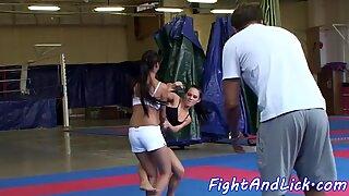 Euro babe wrestles asian lesbo beauty