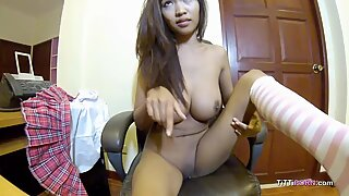 Girl on webcam strips down and reveals perfect pair of tits