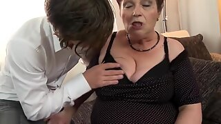 Crazy old grandma eats and fucks young boy