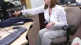 Lovely business lady gets her pussy pounded by a d