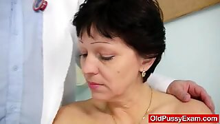 Unshaven housewife Eva visits gyno doc fuck hole inspec