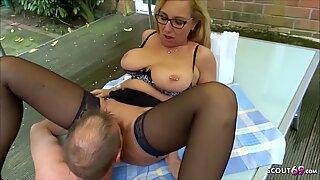 German Mature Wife Cheating Fuck in Garden with Beighbour
