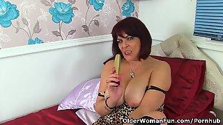 British milf Christina X makes her nyloned pussy tingle