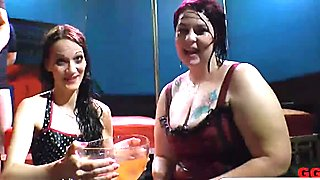 Drunk girlfriends at Euro Club showed wild side by swallowing strangers cum