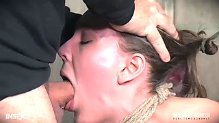 Bondage sex slave gets her throat fucked and ruined hardcore