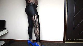 New bodtstockings and black shiny leggings