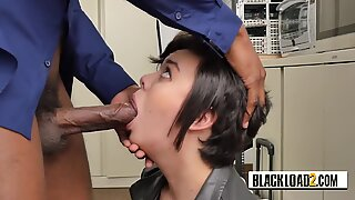 Tender and shy short haired chubby babe opens her mouth a lot to get all casting agent s big cock.