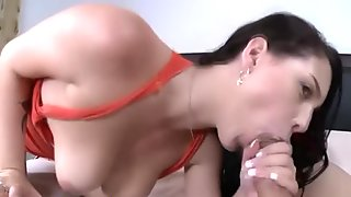 Big tit babe gags on dick