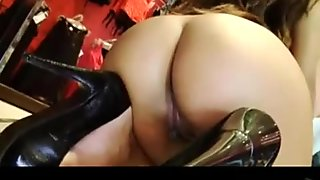 Cock loving gorgeous ebony gives blowjob on her knees to tattooed stud