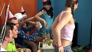 Naked college girls play with a huge dildo