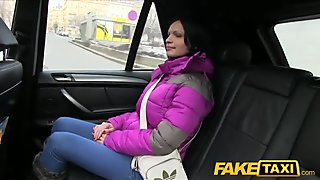 FakeTaxi Black haired hottie cum on tits