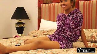 Petite Brunette Thai Pige Fucked Hard in Første Personer Synsvinkel af en stor pik