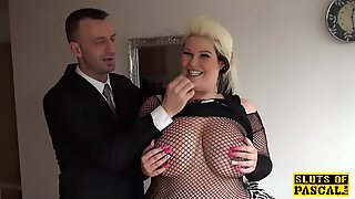 Fat british sub pussyfucked in lingerie