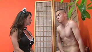 Busty house maid in her sexy dress got fucked in her bedroom