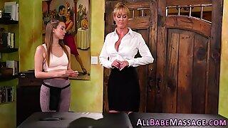 Fingered oiled up massaged lesbian milf