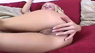 Big tits blonde gets excited & masturbates