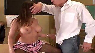Schoolgirl fucked by her teachers in bisex 3some