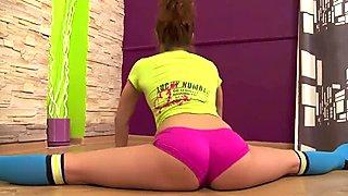 Flexible hot teen babe in socks doing some exercises naked