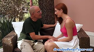 Teen redhead pussyfucked by lucky grandpa