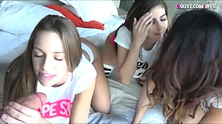 Three hot ass teens shared a hard cock in the bedroom