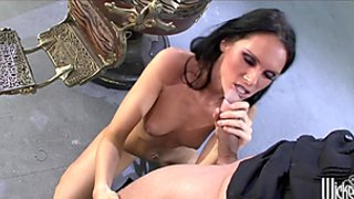 Hot skinny natural-tit brunette has her tight puss