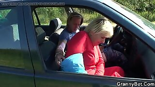 80 years old grandmother plumbed in the car