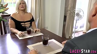 Granny Lacey Starr sucks and anally rides