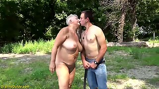 chubby big boob mom gets wild outdoor beach fucked by her young strong cock toyboy