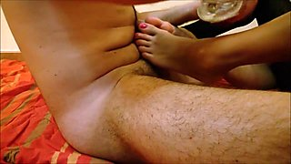 Epic footjob   cum on ass and soles