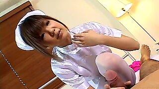 Sweet beautiful nurse Rika Hayama gives handjob to her patient