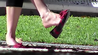 Candid Shoeplay Dangling Heelpopping at Park
