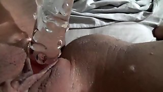 playing with my glass dildo and doing kegels