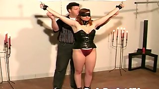 Flawless brunette girlfriend clamped busty tits for bondage foreplay game with chubby partner