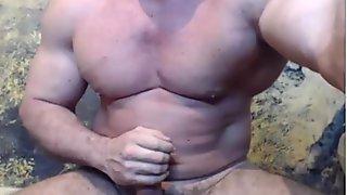 Str8 bodybuilder flexing & stroke