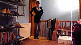 Having fun in my sexy black suit & stockings