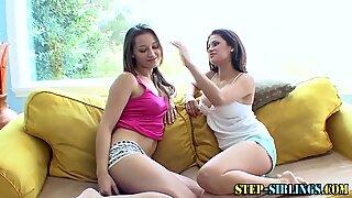 Busty stepsister scissored by lesbian teen