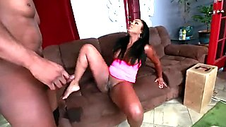 Ebony BBW babe gets smashed by a black monster cock