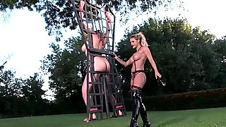 Wicked Mistress and her sex slave outdoor